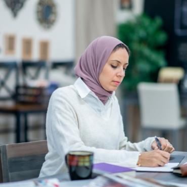 muslim business woman working